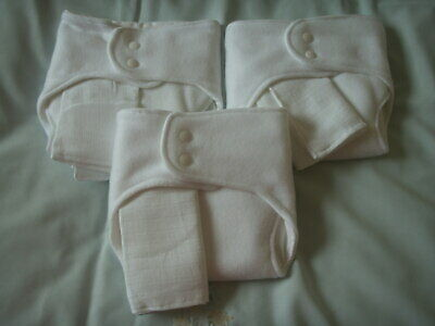 NEW Made in UK 3 Pk. Shape fit Nappies Bamboo/Zorb/Bamboo~13lb av. fleece back