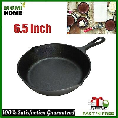 Cast Iron Griddle Pan Pre Seasoned Skillet Cookware for Oven Stovetop 6.5 Inch