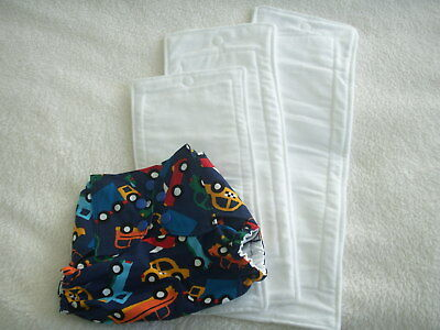 NEW Made in UK BTP Pul Cars Wrap Nappy Snap fasten 3 Sized Zorb inserts included