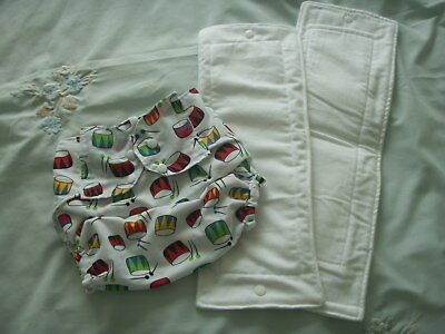 NEW Made in UK X Large Pul Chevron Drums Wrap Nappy Snap fasten 2 Zorb inserts