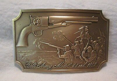 Vintage 1970'S Colt Firearms Brass Belt Buckle Model 1860 Army Revolver