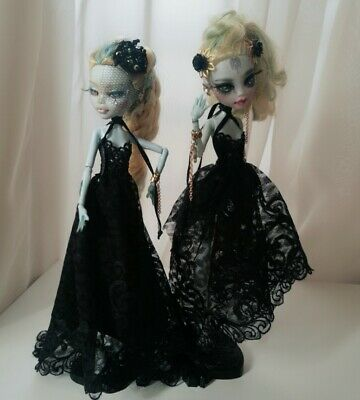 ooak Monster High EAH doll clothes Twin Black White Gothic irregular Maxi dress