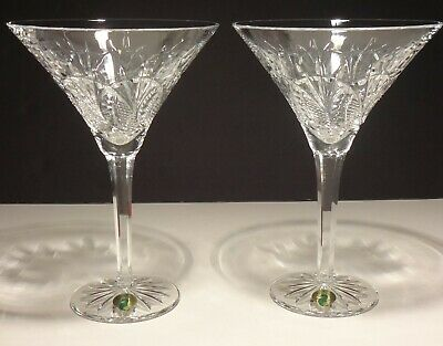 2 Waterford Crystal Seahorse Martini Glasses ~ Made In Ireland