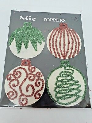 MIC TOPPERS Bauble Card Toppers RED/GREEN Craft Embellishment CHRISTMAS