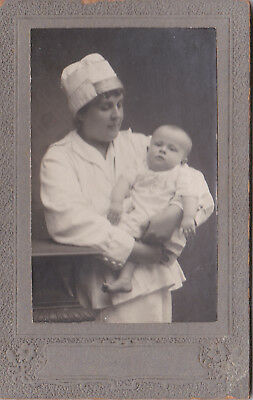 1920s Beautiful family Mother with child baby fashion old Russian antique photo