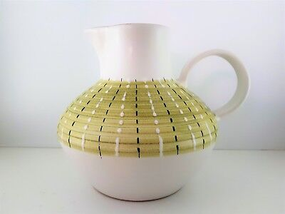 Denby Stoneware Jug White and Green with Black Country Kitchen Made in England