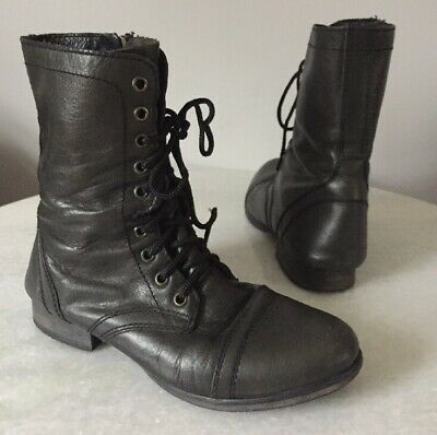61dc78deab5 NEW STEVE MADDEN Women s Black Leather Combat Officer Boot Lace Up ...