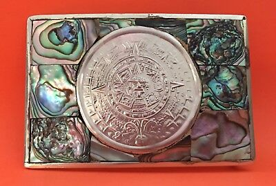 Vintage Mexican Alpaca **AZTEC CALENDAR** Tribal Abalone Shell Inlay BELT BUCKLE
