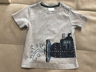 Hanna Anderson 100 Boys Shirt Top Size 3-4 Toddler Gray With Submarine