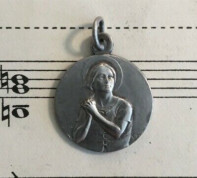 Antique French Silver Plated Joan of Arc Religious Medal by Chapu c1920