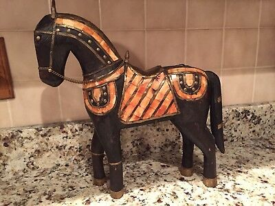 "15"" Hand Carved Wood Horse Statue W/brass And Pearl Or Bone Inlay, Folkart"