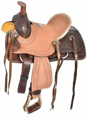 """10"""" DARK Double T Pony/Youth Rough Out Hard Seat Roper Style Saddle!"""