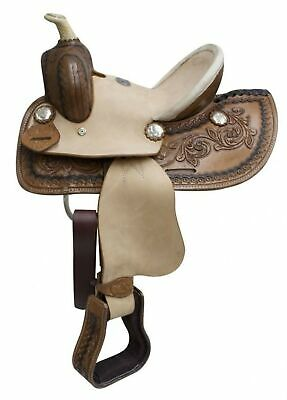 """10"""" Double T Youth Hard Seat Western Saddle With Braided Horn Rough Out Fenders!"""
