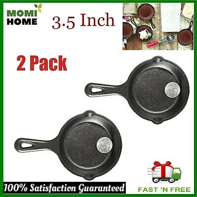 Cast Iron Griddle Pan Pre Seasoned Skillet Cookware Mini Small 3.5 Inch Set of 2