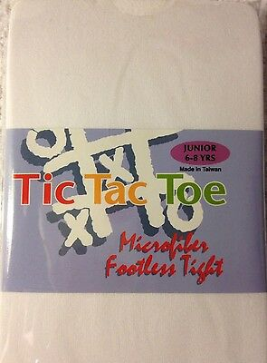 NEW Girls Back to School Tic Tac Toe Microfiber Footless Tights Junior 6-8 White