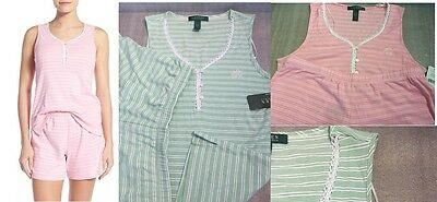 Ralph Lauren Women's Pajama Set Striped Tank Boxer Pajama Set