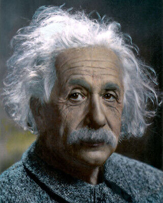 """ALBERT EINSTEIN THEORETICAL PHYSICIST SCIENCE 8x10"""" HAND COLOR TINTED PHOTOGRAPH"""