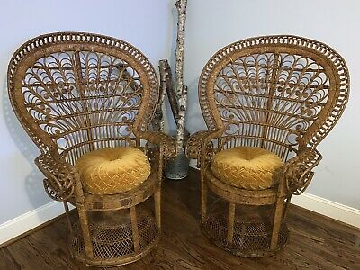 2 Vintage High Back Peacock Wicker Rattan Chairs