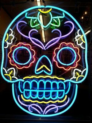 Neon Light Colorful Skull Beer Bar Pub Wall Display Decor Sign