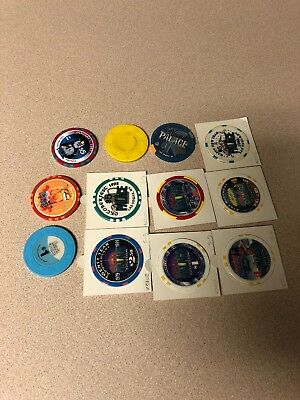(12) $5, $1 nevada palace obsolete casino chips las vegas nv lot