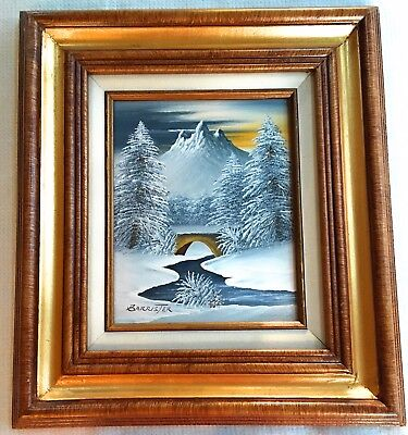 Vintage Barrister Signed Art Oil Painting Framed Winter Snow Scene 15x17  Canvas