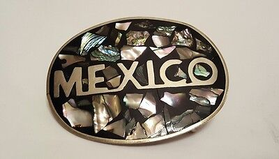 Vintage Mother of Pearl Abalone Shell Silver Mexico Belt Buckle