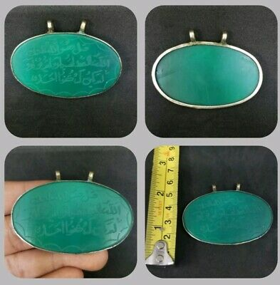 Green agate stone Old Islamic Holy Writing Verses Beautiful Pendant