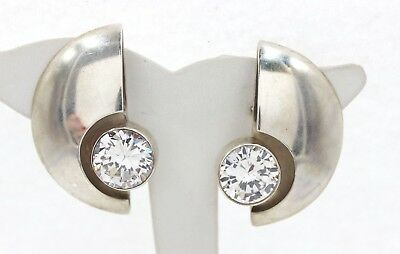Vintage Mexico 925 Sterling Silver Clear Glass Stone Clip On Earrings 38.2 Grams