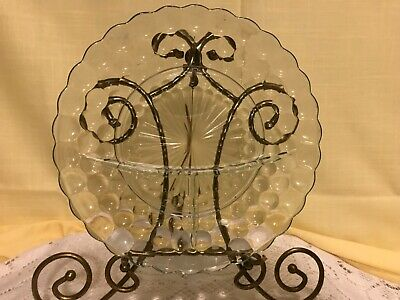 """Anchor Hocking Blue Bubble Divided (Three Section) Dinner Plate 9 1/2"""""""