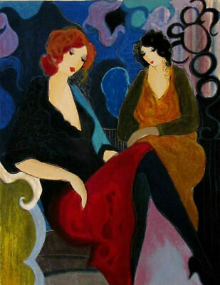 Modern Art Wall Deco Canvas Handpainted Itzchak Tarkay oil painting Good Friends