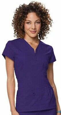 4ed94df375f NEW KOI 204 Women's Stretch Mackenzie Zip V-Neck Solid Scrub Top ...