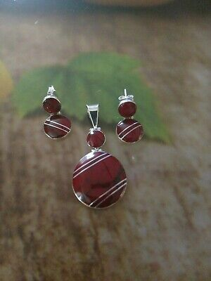 Small Taxco Mexico Red  925 Sterling Silver Inlay earring and Pendant Sets