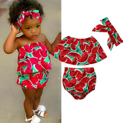 3Pcs Toddler Kid Baby Girl Summer Clothes Watermelon Crop Tops Shorts Outfit Set