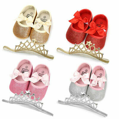 Child Girl Baby Sequin Bow Toddler Shoes Send Princess Crown Hair Accessories