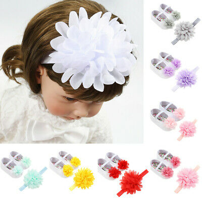 UK Big Promotion Flower Toddler Walkers Shoes Baby Girl +Hair Accessory Hairband