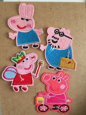 A set of 4 Peppa Pig patches badge aplique motif embroidered patches