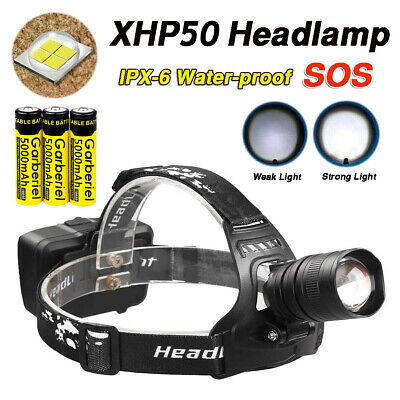 300000LM Super Bright XHP50 LED Headlight Headlamp Zoom 3*18650 USB Rechargeable
