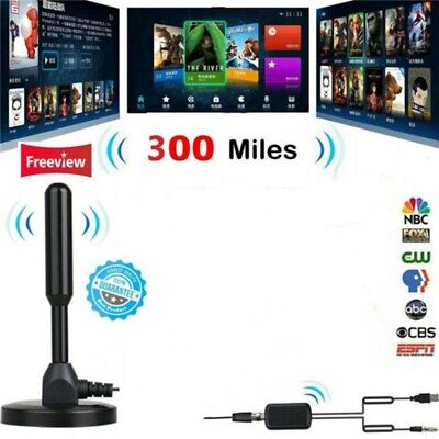 Indoor 300 Mile HDTV Antenna Aerial HD Digital TV Signal Amplifier Booster Cable