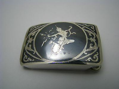 HANDMADE SOLID STERLING SILVER BELT BUCKLE w/ NIELLO Siam/Thailand Asia ca1930s
