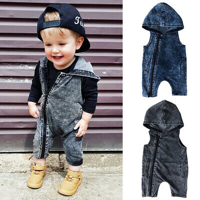 AU Kids Baby Boy Girl Hooded Romper Bodysuit Playsuit Clothes Jumpsuit Outfits
