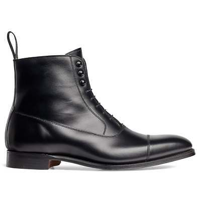 Men's Bespoke Handmade Genuine Leather Ankle LaceUp Marching Oxford Toe Cap Boot