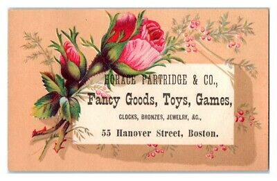 Horace Partridge & Co. Fancy Goods Toys Games, Boston Victorian Trade Card *VT15