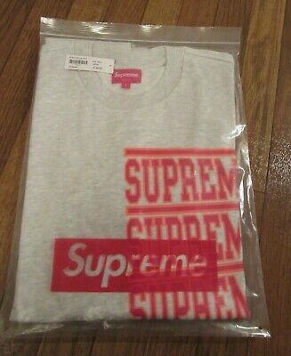Supreme Stacked L/S Long Sleeve Top Size Large Ash Grey SS18KN63 SS18 NEW NWT