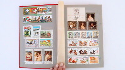 1970's Vintage 340 Postage Stamp Album Hardcover Book World Stamps Collection