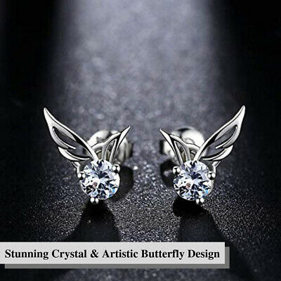 Shiny Angel Wings Butterfly Rhinestone Crystal 925 Sterling Silver Stud Earrings