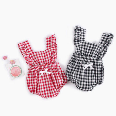 30e9355db Newborn Infant Baby Girls Ruffle Plaids Romper Bodysuit Outfits Clothes  Summer