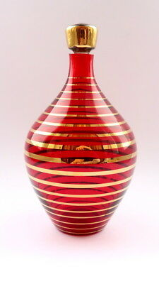 Vintage Bohemian Decanter Red Cut Glass Crystal Gold Pattern Czechoslovakia
