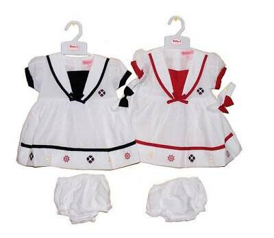 BABY GIRLS 3 PIECE RED & WHITE SAILOR STYLE DRESS PANTS, HEADBAND age 6-12 month