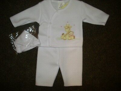 Baby Girls Soft White Suit Outfit Trousers Jacket Hat, Giraffe & Pink Teddy 3-6
