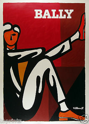 """BALLY shoes ADVERTISING  BROWN RED ART PRINT MAN PAINTING  A2  FRAME 36"""" x 24"""""""